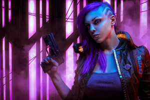 Cyberpunk 2077 With Gun Wallpaper