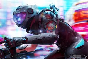 Cyberpunk Biker Digital Art Wallpaper