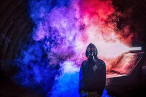 Cyberpunk Man Colorful Smoke Bomb Wallpaper