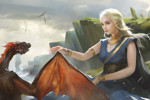Daenerys Targareyn With His Dragon