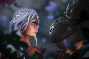 Daenerys Targaryen With Dragon Art Wallpaper