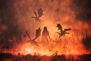 Daenerys Targaryen With Dragons Illustration Wallpaper