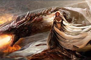 Daenerys Targaryen With His Dragon