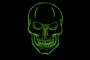 Dark Green Skull Minimalism Art
