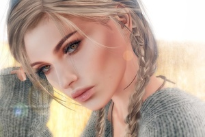 Dark Hair Blonde Girl Art