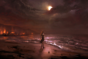 Dark Night Beach Fire Digital Comic Art