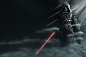 Darth Revan Star Wars With Lightsaber Wallpaper