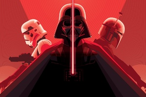 Darth Vader With Lightsaber Stormtrooper Wallpaper