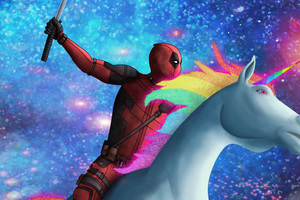 Deadpool On Unicorn Wallpaper