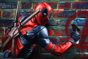 Deadpool Painting On The Wall Wallpaper