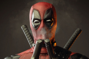 Deadpool Smelling Smoke Of Two Guns Wallpaper