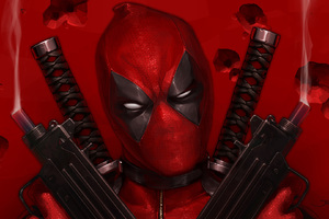 Deadpool With Guns Up Art Wallpaper