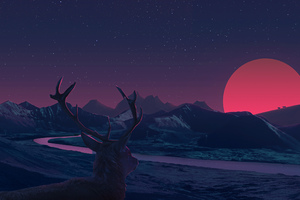 Deer Landscape Manipulation Mountains Sun Rising