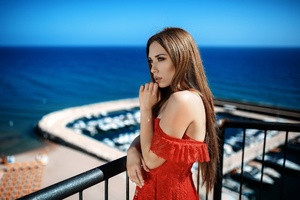 Depth Of Field Girl Long Hair Model Red Dress Wallpaper