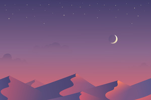 Desert Nights Moon 5k Minimalism Wallpaper