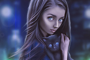 Digital Girl With Cat Wallpaper