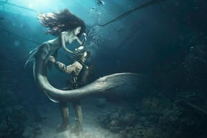 Diver and The Mermaid Wallpaper