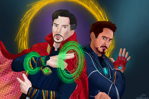 Doctor Strange And Iron Man In Avengers Infinity War Artwork