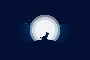 Dog Moon Abstract 10k Wallpaper