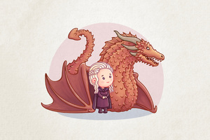 Dragon Queen Khaleesi Cartoon Artwork Wallpaper