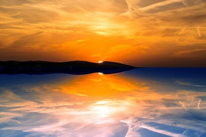 Dreamy Sunset Reflection Sea Clouds