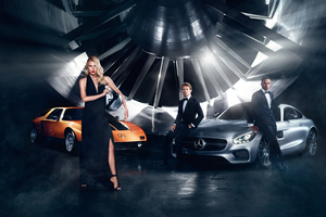 Dree Hemingway And Lewis Hamilton For Mercedes Benz Wallpaper