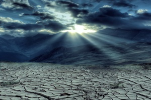 Drought Mountains Cloud Sun Rays 5k Wallpaper