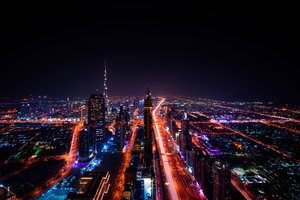 Dubai Cityscape Buildings Lights 8k