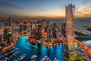 Dubai Uae Building Skyscrappers Night Wallpaper