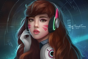 Dva Overwatch Headphones Artwork