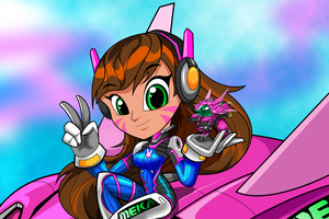 Dva Overwatch Illustration Wallpaper