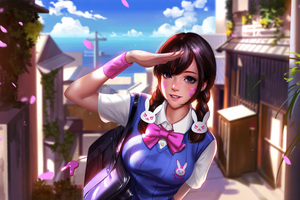 Dva Overwatch School Uniform Art
