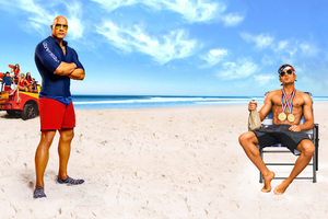 Dwayne Johnson And Zac Efron In Baywatch Movie Wallpaper
