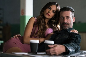 Eiza Gonzalez And Jon Hamm In Baby Driver 4k 5k Wallpaper