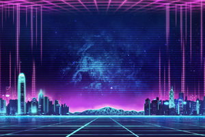 Electro Wave Retro Skyline Buildings