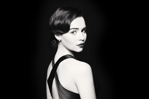 Emilia Clarke Monochrome 4k Wallpaper