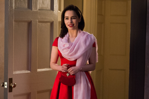 Emilia Clarke Red Dress Me Before You Wallpaper