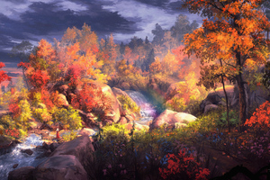 Fantasy Autumn Painting 4k Wallpaper