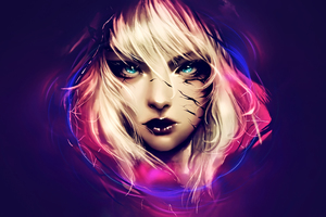 Fantasy Blonde Hair Blue Eyes Artwork Wallpaper