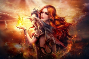 Fantasy Girl Dragon Fire