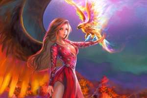Fantasy Girl With Phoenix Wallpaper