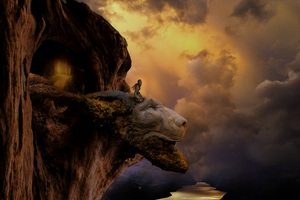 Fantasy Lion Head Artistic Top View Mountains Wallpaper
