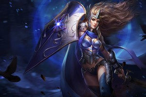 Fantasy Warrior Girl With Shield And Sword Wallpaper