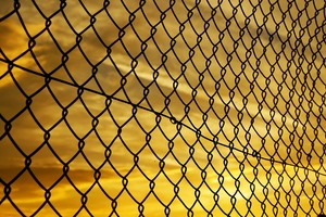 Fence Yellow Sky Wallpaper