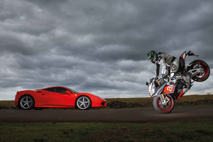 Ferrari 488 GTB Vs Aprilia RSV4 Wallpaper