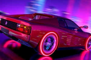 Ferrari Testarossa Retrowave Wallpaper