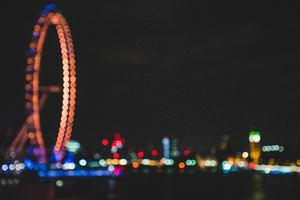 Ferris Wheel Bokeh Effect Lights Night Dark Wallpaper