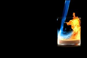 Fire Water In Glass Wallpaper