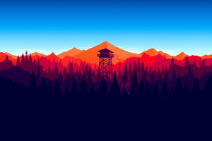 Firewatch Forest Mountains Minimalism 4k