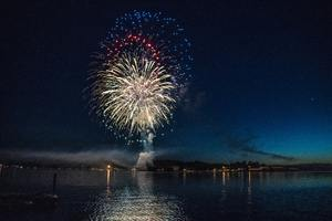 Fireworks Explosion Above Water Body 8k Wallpaper